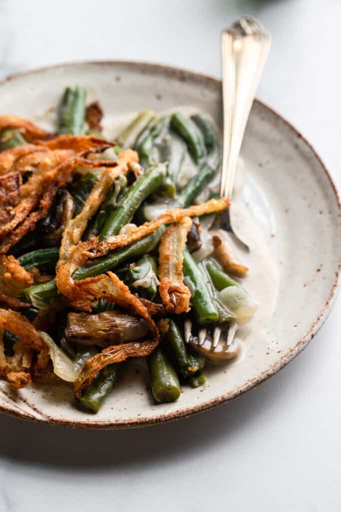 a small plate with Dairy Free Vegan Green Bean and a fork