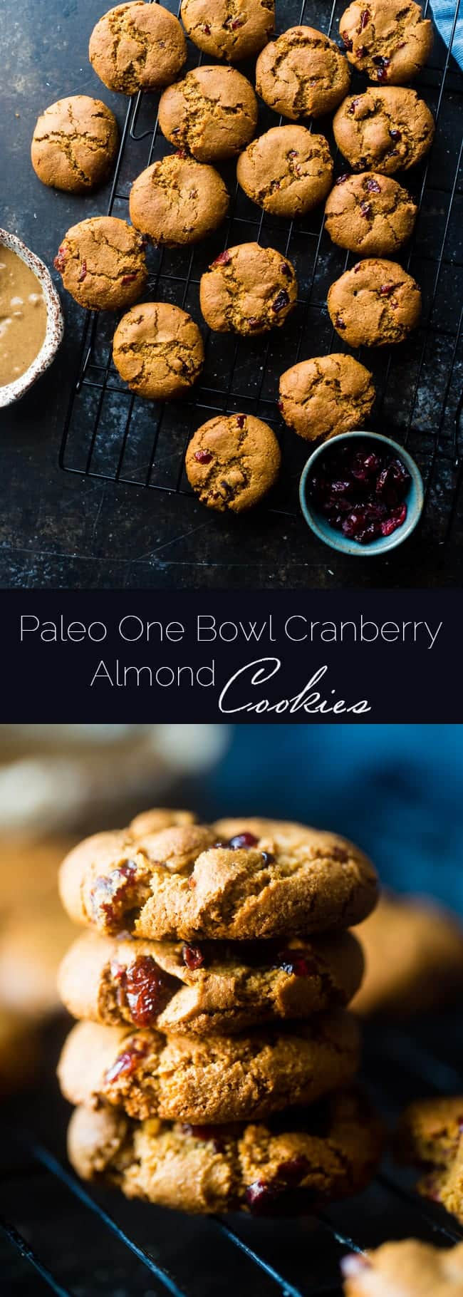 6 Ingredient Paleo Cranberry Almond Cookies - These easy, gluten free cranberry almond paleo cookies are so chewy and delicious! They're a healthier cookie for the Holidays with only 6 ingredients! | Foodfaithfitness.com | @FoodFaithFit