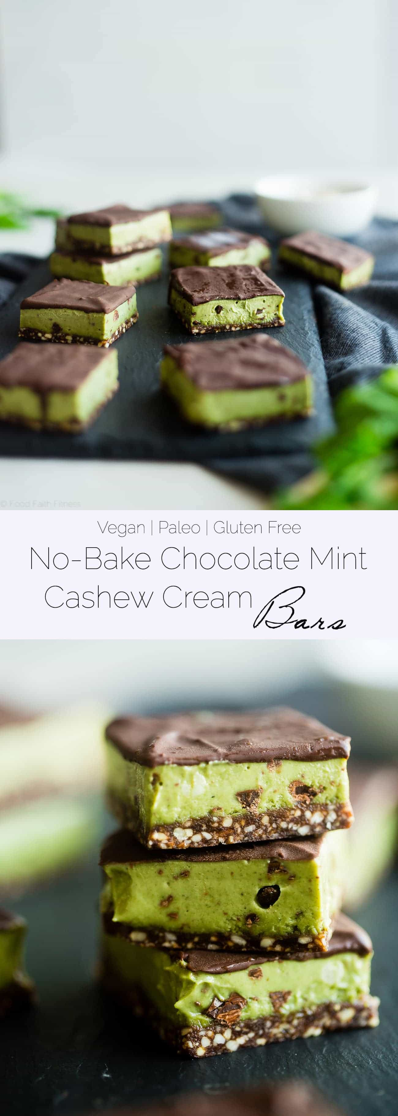 No Bake Mint Chocolate Cashew Cream Bars - These easy mint chocolate cashew cream bars are so creamy and only have 7 ingredients! They're a healthy, vegan and paleo friendly dessert for the holidays! | Foodfaithfitness.com | @FoodFaithFit