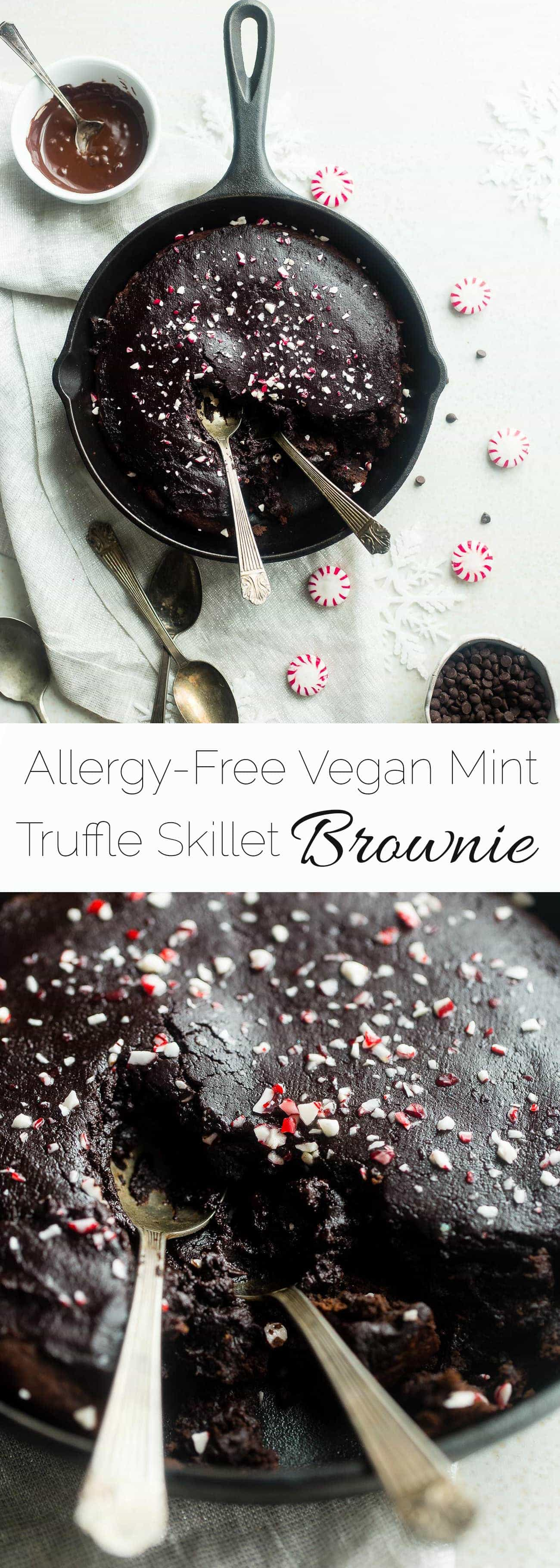 Vegan Peppermint Skillet Brownie - This fudgy, rich peppermint vegan brownie is baked in a skillet and is covered with a healthy chocolate truffle frosting! It's an easy, gluten and allergy free holiday dessert! | Foodfaithfitness.com | @FoodFaithFit