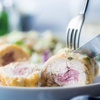 Healthy Baked Chicken Cordon Blue with Cauliflower Alfredo