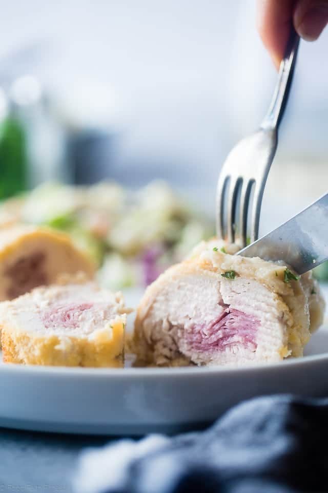 Healthy Baked Chicken Cordon Bleu With Cauliflower Alfredo