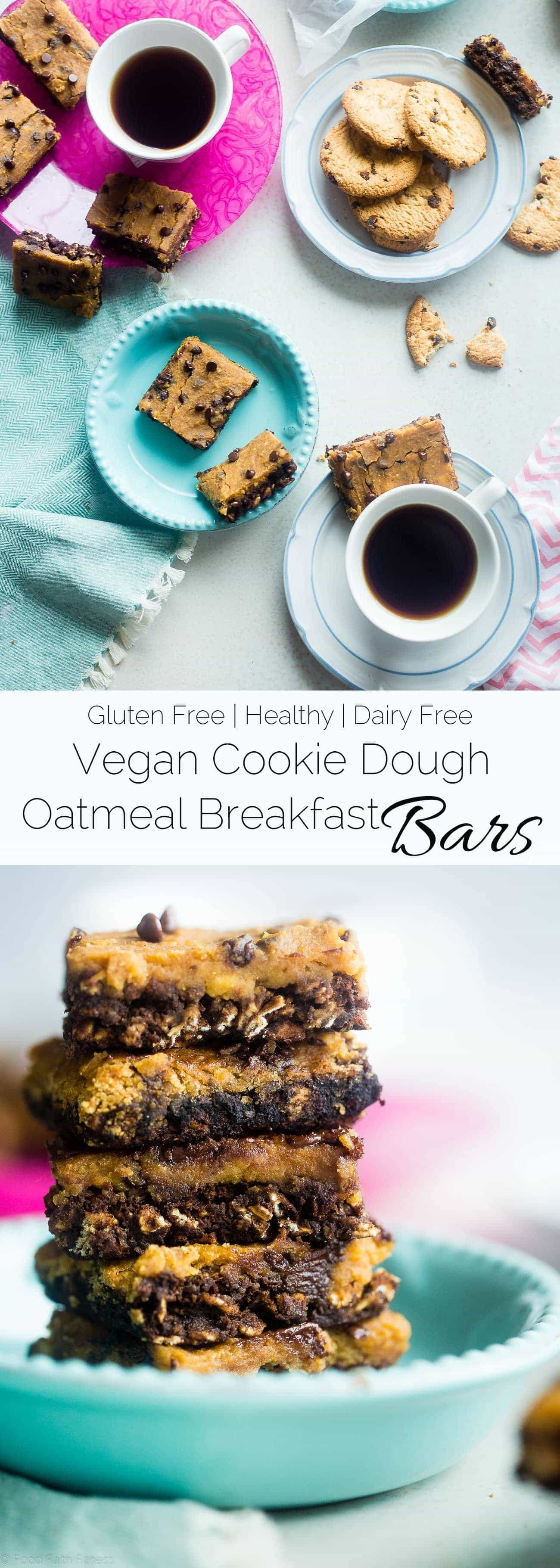 Vegan Cookie Dough Oatmeal Breakfast Bars - These gluten free breakfast bars let you feel like you're having dessert for breakfast! They're an easy, portable option to have for busy mornings! Great for meal prep! | Foodfaithfitness.com | @FoodFaithFit