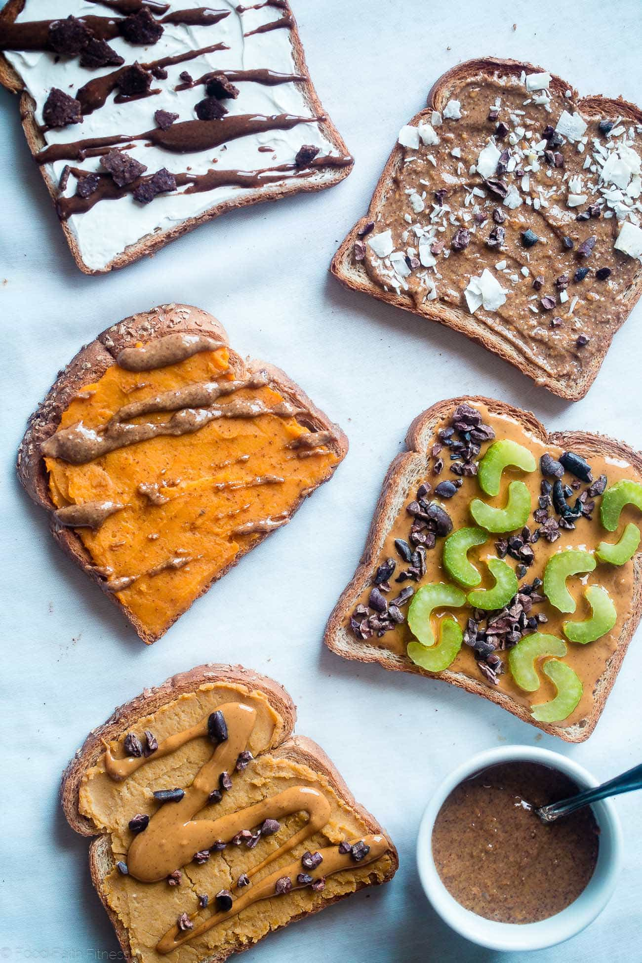 5 Vegan Dessert Breakfast Toasts - Want to eat cookie dough, cookies n' cream, sweet potato pie or an almond joy for breakfast? These healthy, gluten free toasts let you have dessert for breakfast, and you can prep the toppings ahead! | FoodFaithFitness.com | @FoodFaithFit