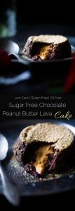 Sugar Free Peanut Butter Chocolate Lava Cakes For Two - Thiese gluten free lava cakes are so rich and delicious you'll never know they're protein packed, low carb and sugar free! The perfect healthy dessert for Valentine's Day! | Foodfaithfitness.com | @FoodFaithfit
