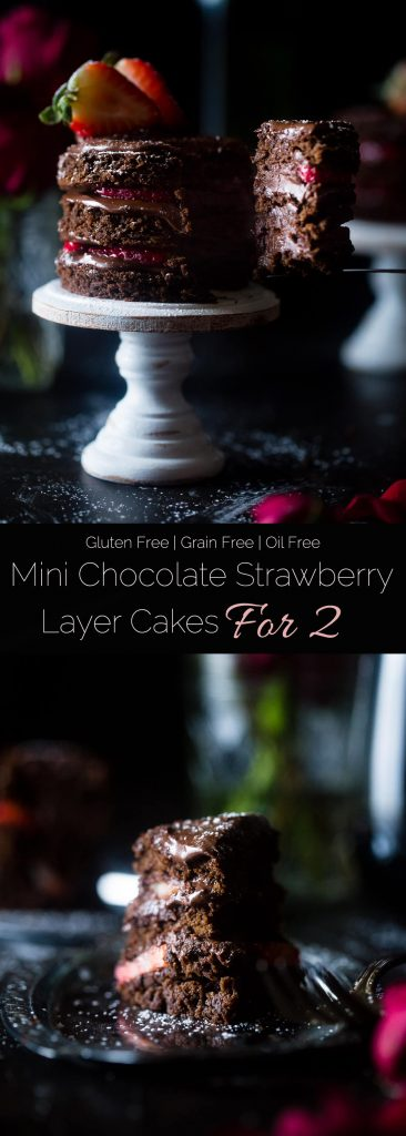 Mini Strawberry Chocolate Cakes For Two - This mini strawberry gluten free chocolate cake recipe makes 2 mini cakes, so it's perfect for two people! A healthier, grain free dessert for Valentine's Day!   Foodfaithfitness.com   @FoodFaithFit