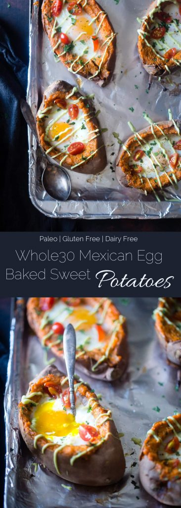 Mexican Stuffed Sweet Potatoes - These Mexican sweet potatoes have a runny egg and a tangy lime avocado sauce! They're a healthy, gluten free and whole30 friendly weeknight meal!   Foodfaithfitness.com   @FoodFaithFit