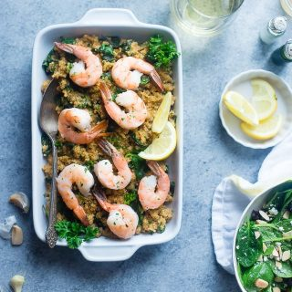 Garlic Butter Shrimp and Quinoa in the Slow Cooker