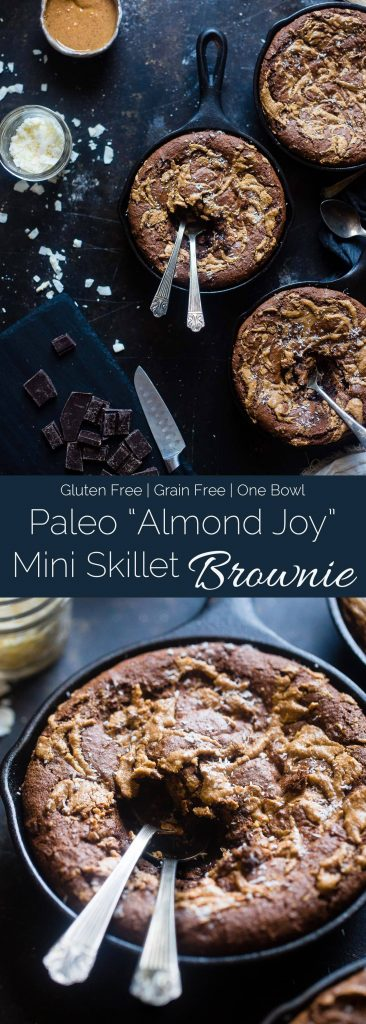 """Gluten Free """"Almond Joy"""" Skillet Brownies - These rich, fudgy coconut almond skillet brownies are made in one bowl! They're a paleo friendly, healthier dessert that everyone will love!   Foodfaithfitness.com   @FoodFaithFit"""