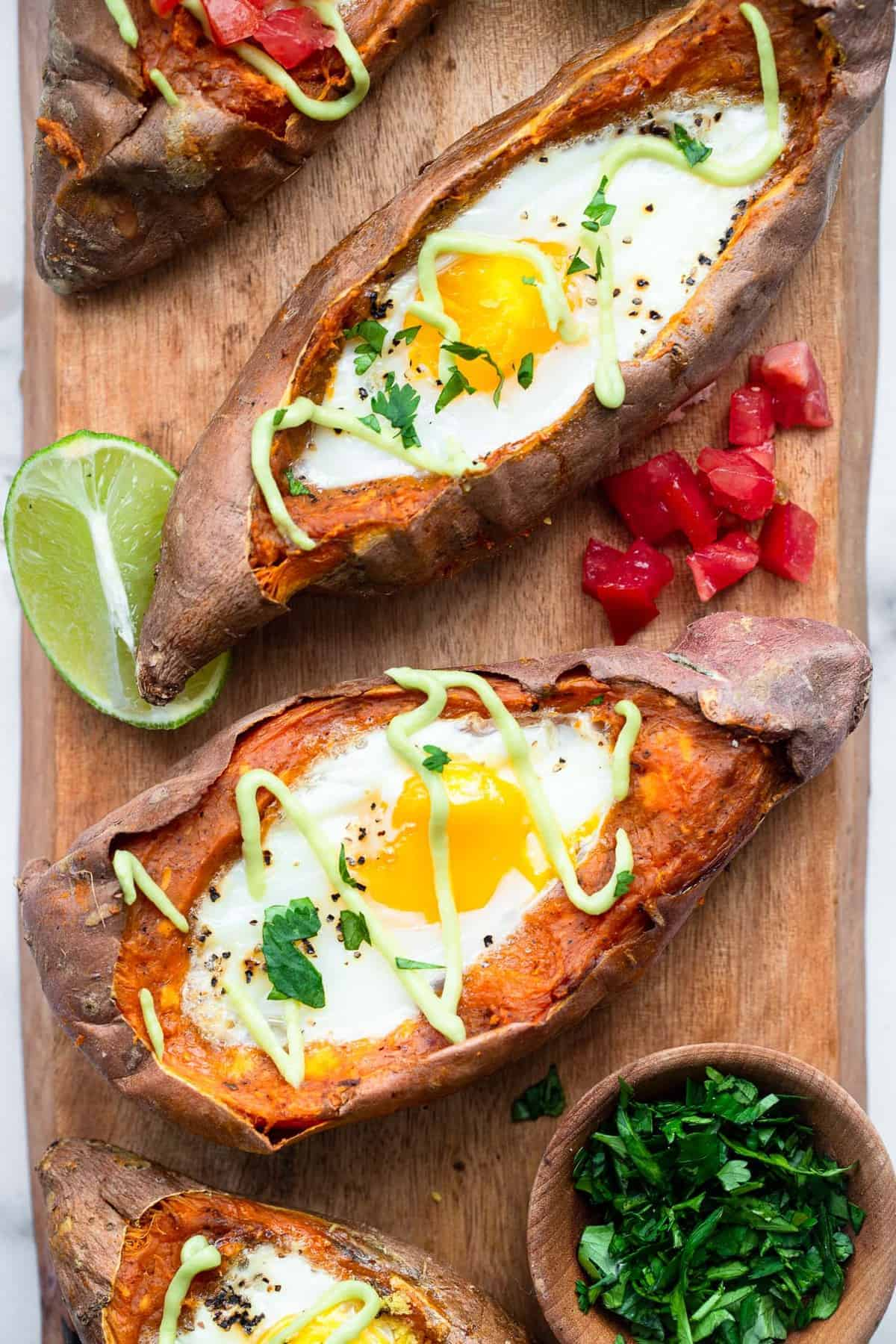 stuffed baked sweet potatoes with eggs and cilantro