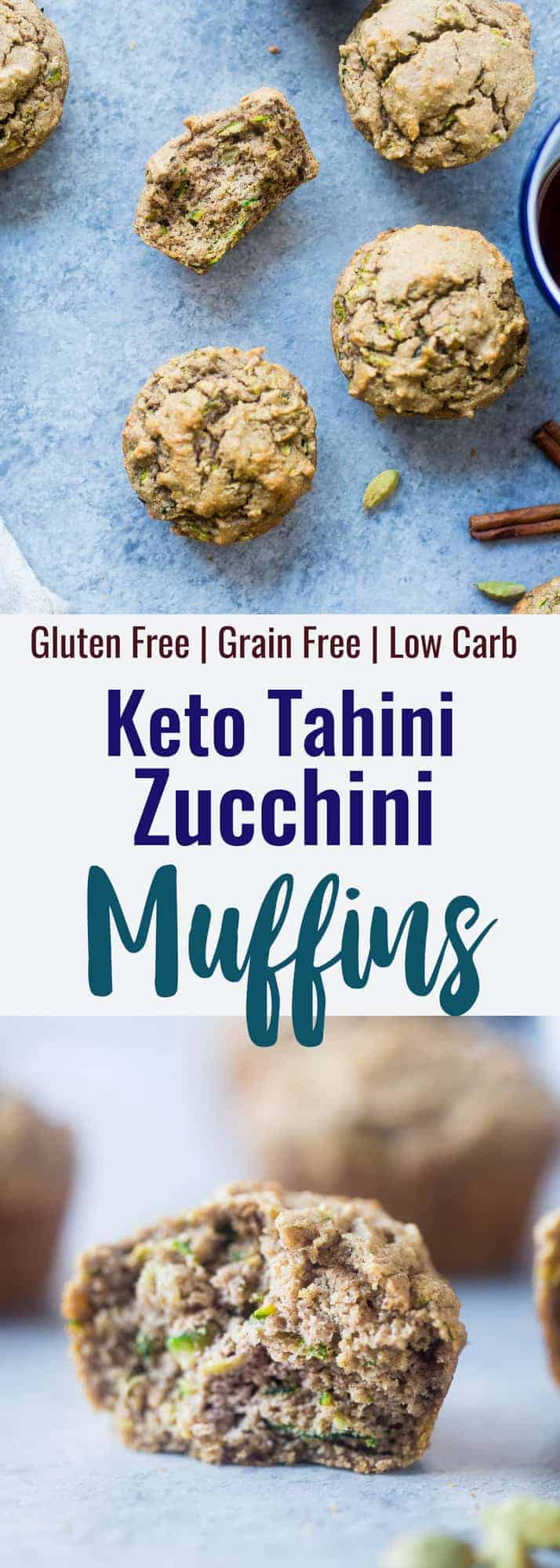 keto zucchini muffins collage photo