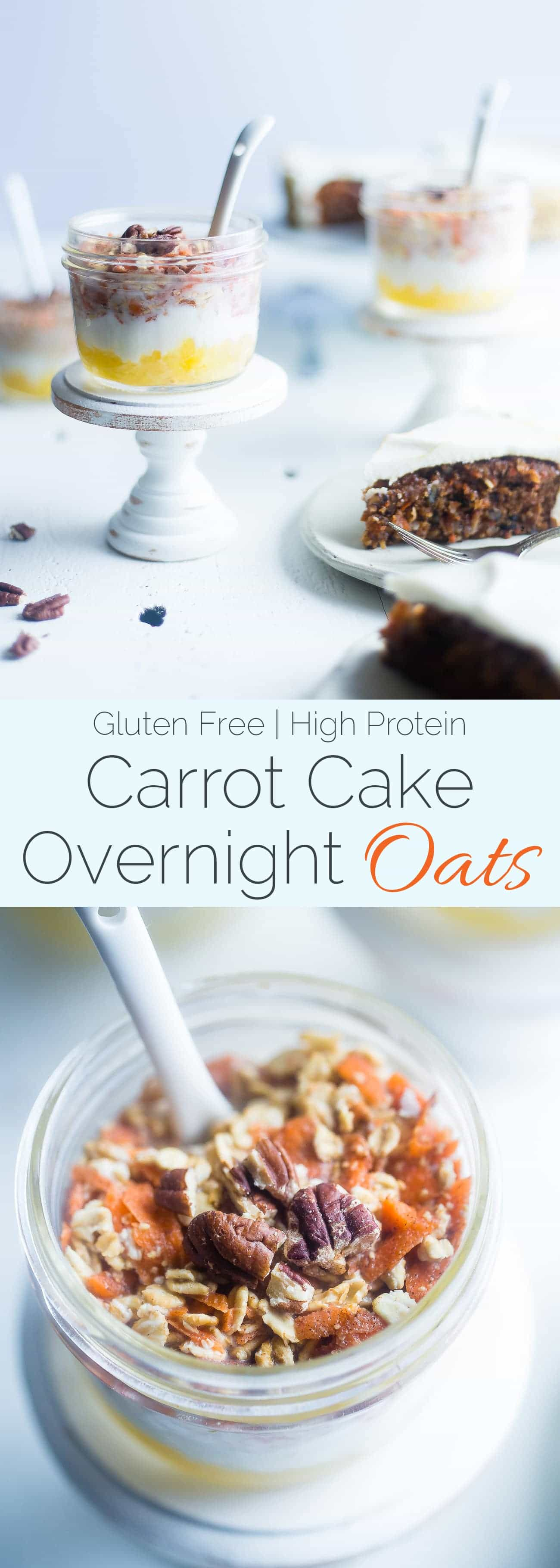 Carrot Cake Overnight Oats - Wake up to dessert for breakfast with these protein packed, gluten free carrot cake overnight oats! They're an easy, healthy breakfast for under 300 calories! | Foodfaithfitness.com | @FoodFaithFit