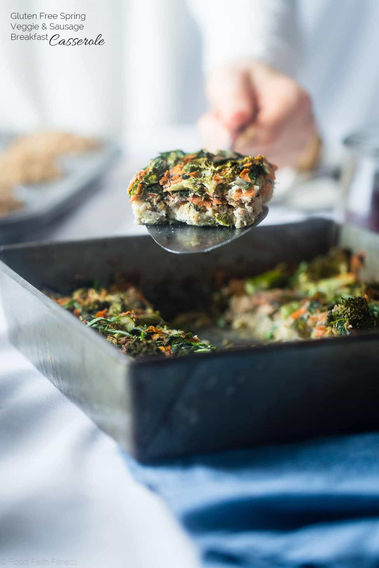Gluten Free Spring Veggie Sausage Breakfast Casserole - This easy, overnight gluten free breakfast casserole is loaded with seasonal veggies and is only 175 calories! Perfect for spring brunches! | Foodfaithfitness.com | @FoodFaithFit