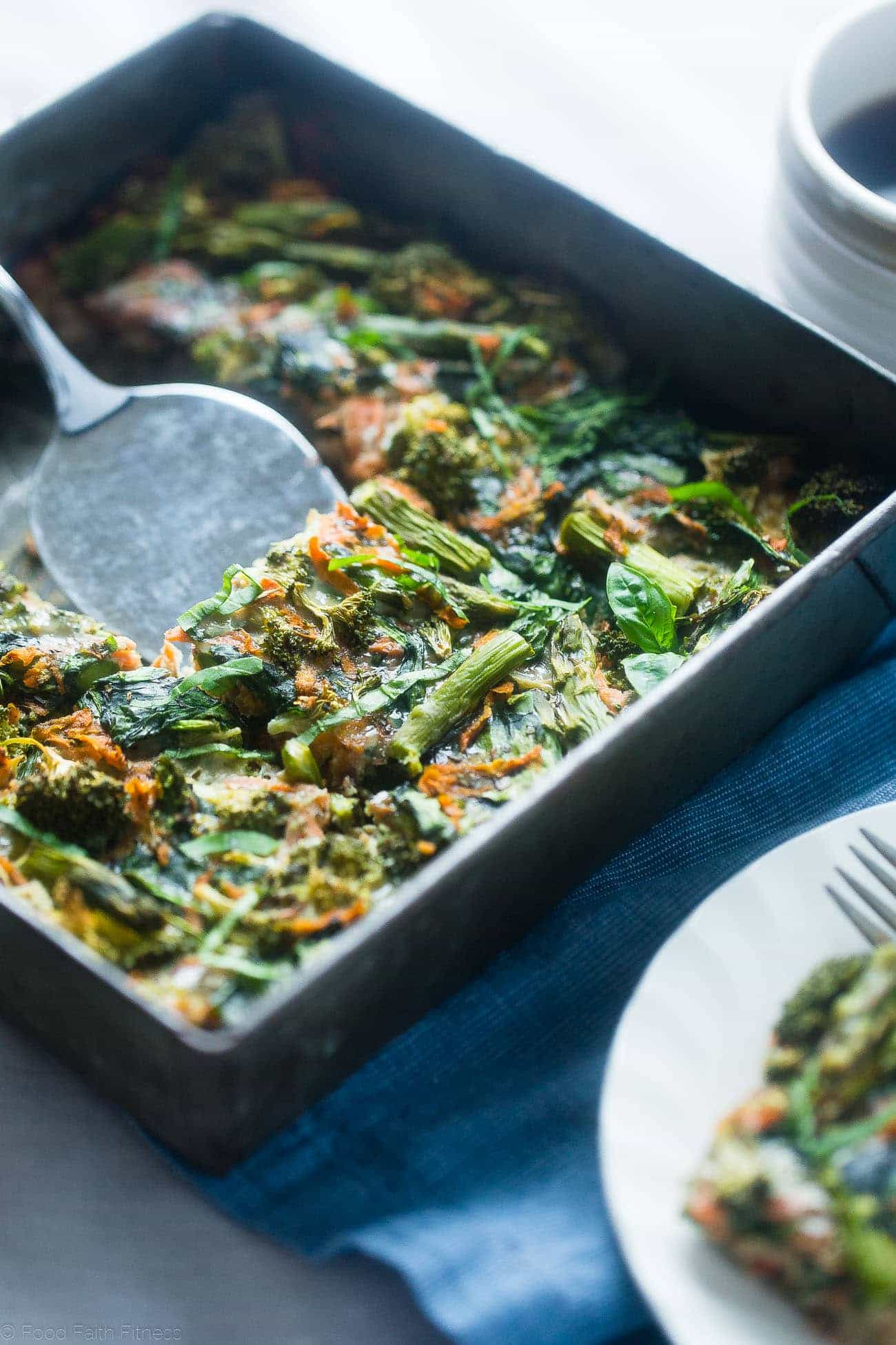Gluten Free Spring Veggie Sausage Breakfast Casserole - This easy, overnight dairy free breakfast casserole is loaded with seasonal veggies and is only 175 calories! Perfect for spring brunches! | Foodfaithfitness.com | @FoodFaithFit