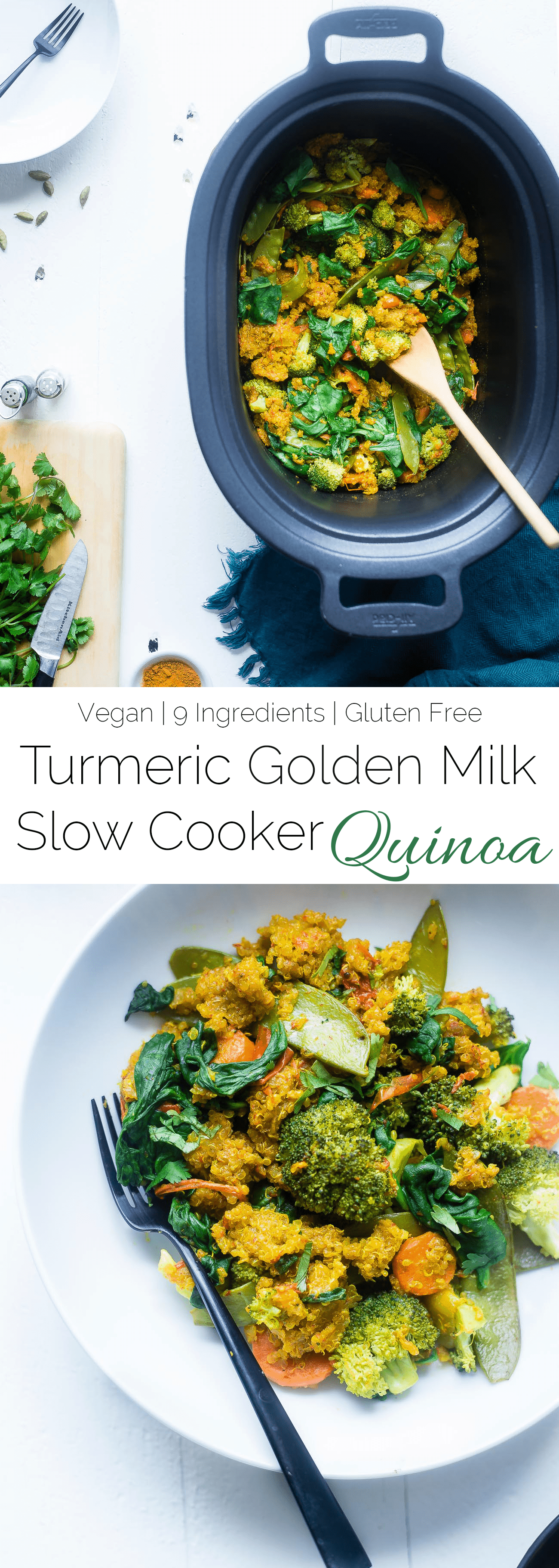 Vegan Turmeric Golden Milk Slow Cooker Quinoa - This healthy slow cooker quinoa with golden milk recipe is an easy, 10 ingredient vegan dinner that is loaded with vegetables! Perfect for busy weeknights!| Foodfaithfitness.com | @FoodFaithFit