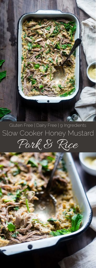 Slow Cooker Honey Mustard Pork and Rice - Let the slow cooker do the work for you with this healthy honey mustard slow cooker pork loin and rice that's gluten free, under 10 ingredients and so easy! | Foodfaithfitness.com | @FoodFaithFit