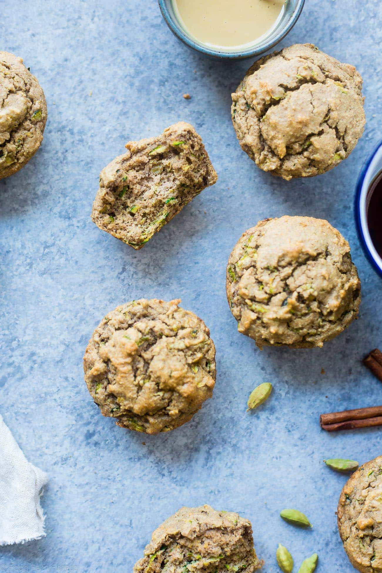Low Carb Zucchini Tahini Muffins - These low carb muffins use zucchini and tahini to make them so moist and fluffy! They're a healthy, dairy, gluten and sugar free breakfast or snack for spring!   Foodfaithfitness.com   @FoodFaithFit