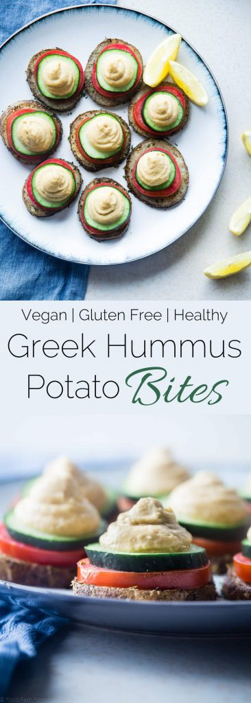 Vegan Hummus Greek Potato Bites - These healthy, vegan Greek potato bites are the perfect party food or snack! They taste like Greek salad and are gluten and dairy free! | Foodfaithfitness.com | @FoodFaithFit