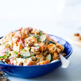 Whole30 Moroccan Sweet Potato Salad - This easy paleo Moroccan Sweet Potato Salad is loaded with the spicy-sweet flavor of the Middle-East! It's a healthy, dairy-free summer side dish with a vegan option! | Foodfaithfitness.com | @FoodFaithFit