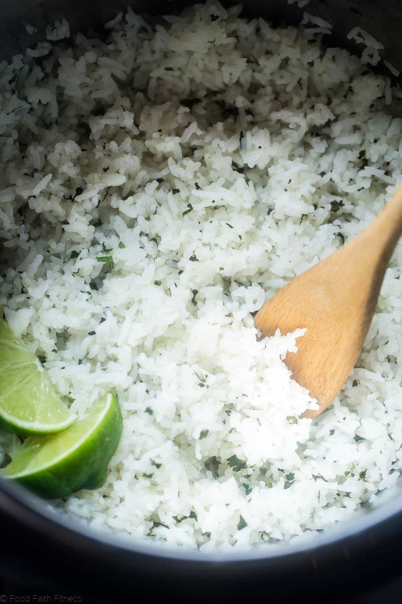 Instant Pot Cilantro Lime Rice - This super easy rice tastes like Chipotle's, is only 3 ingredients and is ready in 12 minutes - the perfect healthy side dish! | Foodfaithfitness.com | @FoodFaithFit