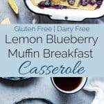 Gluten Free Lemon Blueberry Muffin Breakfast Casserole - This muffin gluten free breakfast casserole is a creative way to use your muffins, and is only 5 ingredients and 200 calories! Perfect for spring brunch or Mother's Day! | Foodfaithfitness.com | @FoodFaithFit