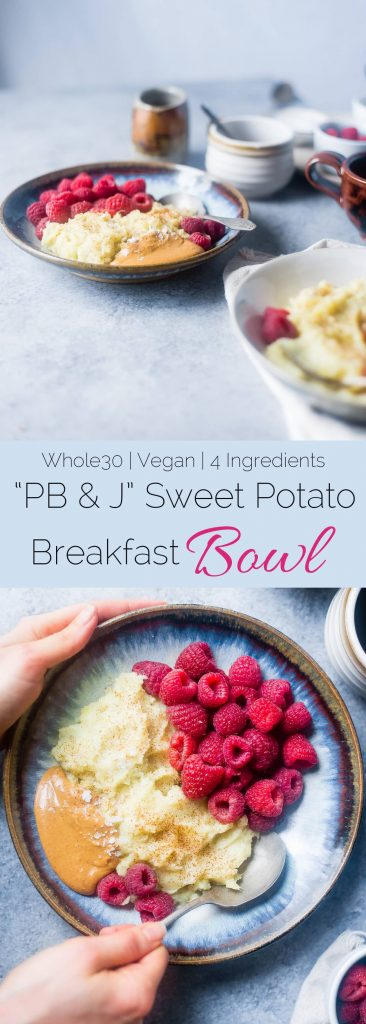 PB & J Sweet Potato Breakfast Bowl - This easy, 5 ingredient, paleo and vegan friendly breakfast bowl is a gluten free, whole30 compliant breakfast that is only 200 calories! | Foodfaithfitness.com | @FoodFaithFit