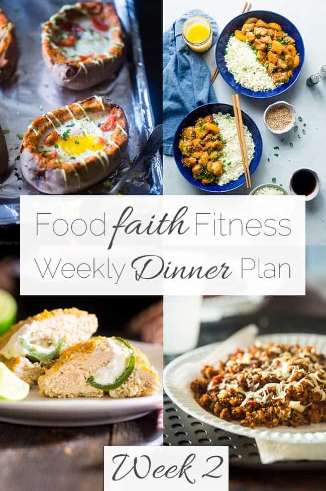 Food Faith Fitness Weekly Dinner Plan Week 2 - A week of healthy recipes all in one place, complete with a printable shopping list and nutrition information! | FoodFaithFitness.com | @FoodFaithFit