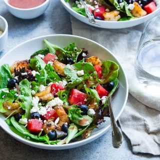 Watermelon Feta Salad with Cajun Shrimp