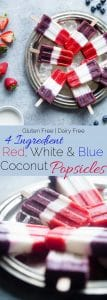 Vegan Red, White and Blue Popsicles -These healthy and dairy free coconut popsicles are a gluten free, patriotic summer treat that are only 4 ingredients and 110 calories! Perfect for July 4th!   Foodfaithfitness.com   @FoodFaithFit