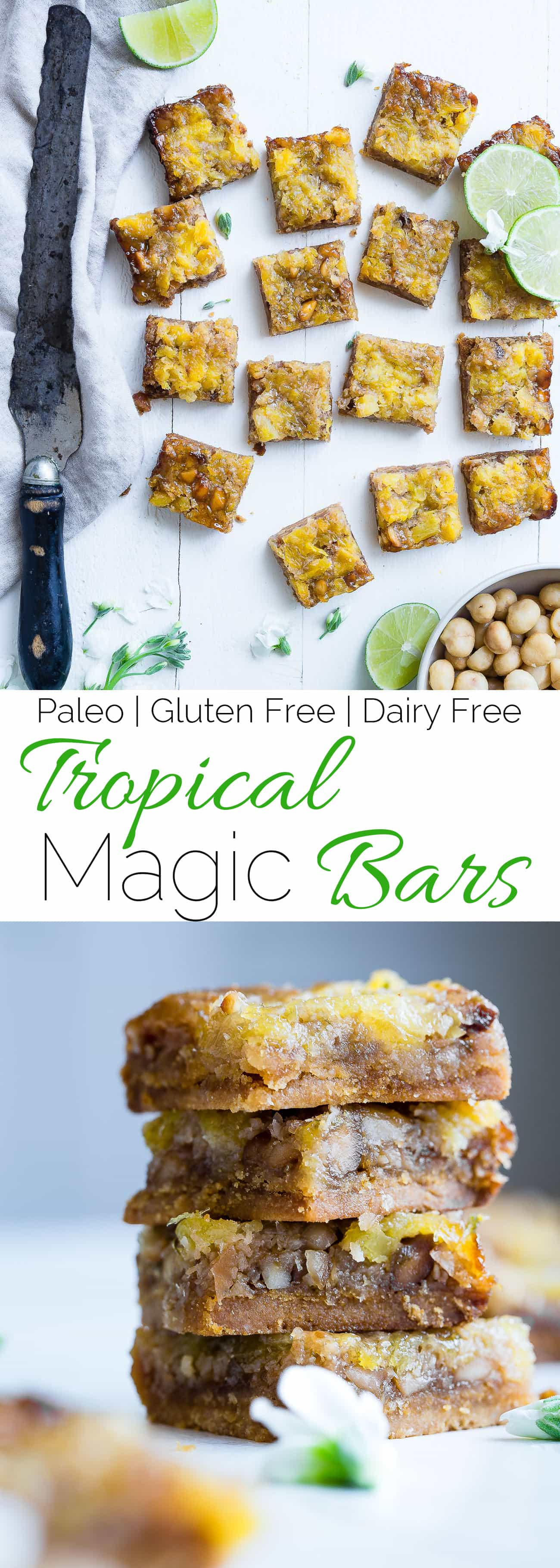 Collage image of tropical paleo magic cookie bars. Recipe on foodfaithfitness.com