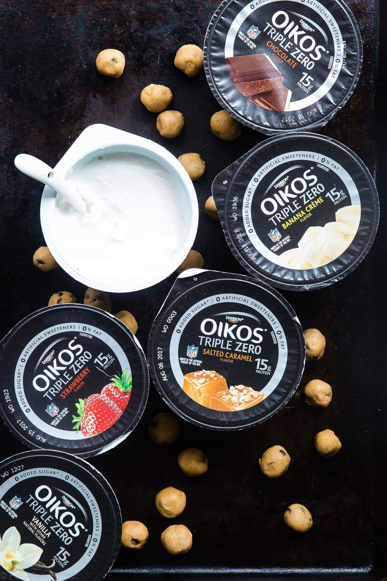 Photo of Dannon Oikos Triple Zero Single Serve yogurt flavors. Recipe on Foodfaithfitness.com