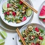 Green Cashew Curry Chicken Bowls with Watermelon