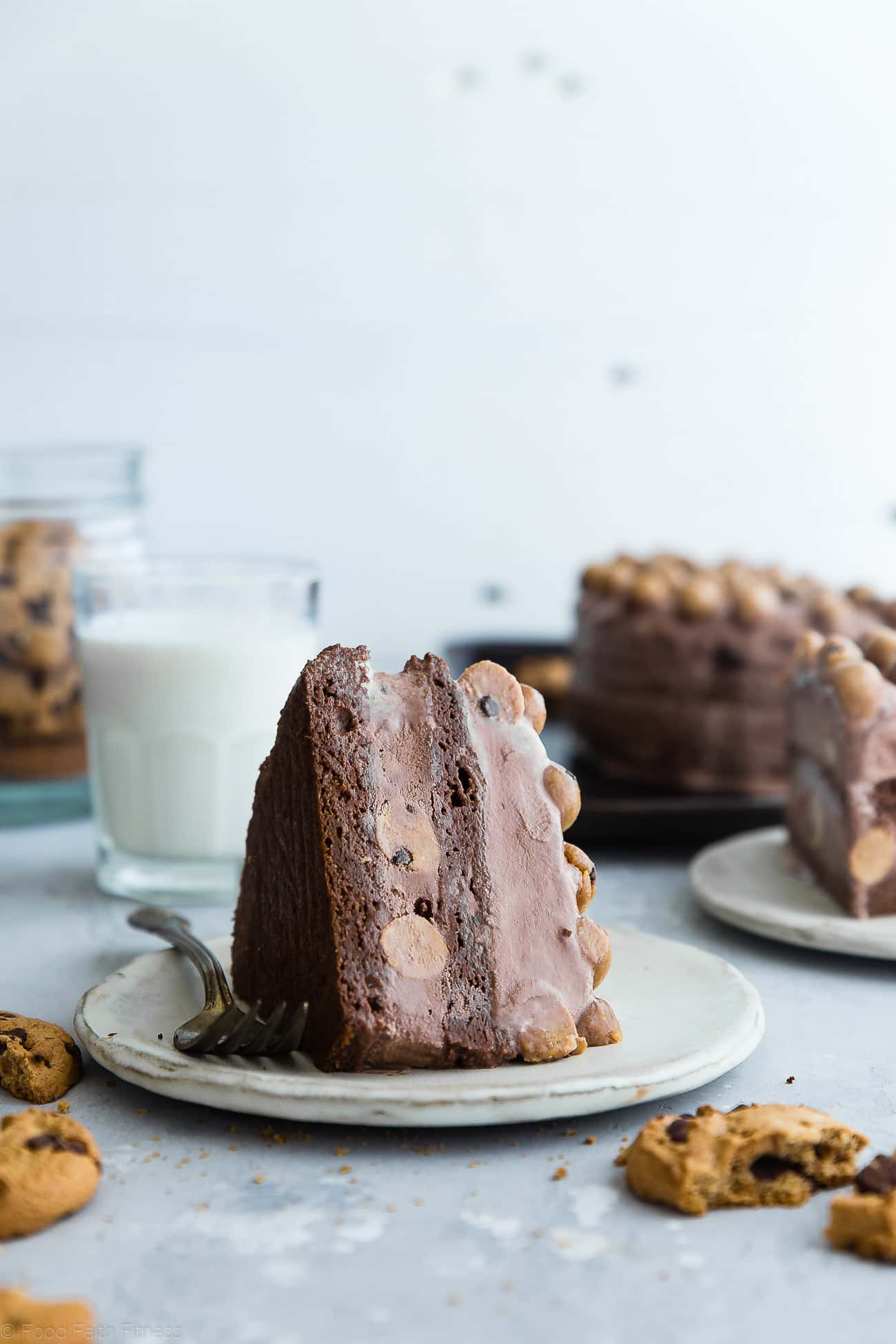 Healthy Cookie Dough Ice Cream Cake - This easy homemade ice cream cake uses healthy chocolate ice cream and bites of chickpea cookie dough for a grain and gluten free, lighter dessert that everyone will love! | Foodfaithfitness.com | @FoodFaithFit