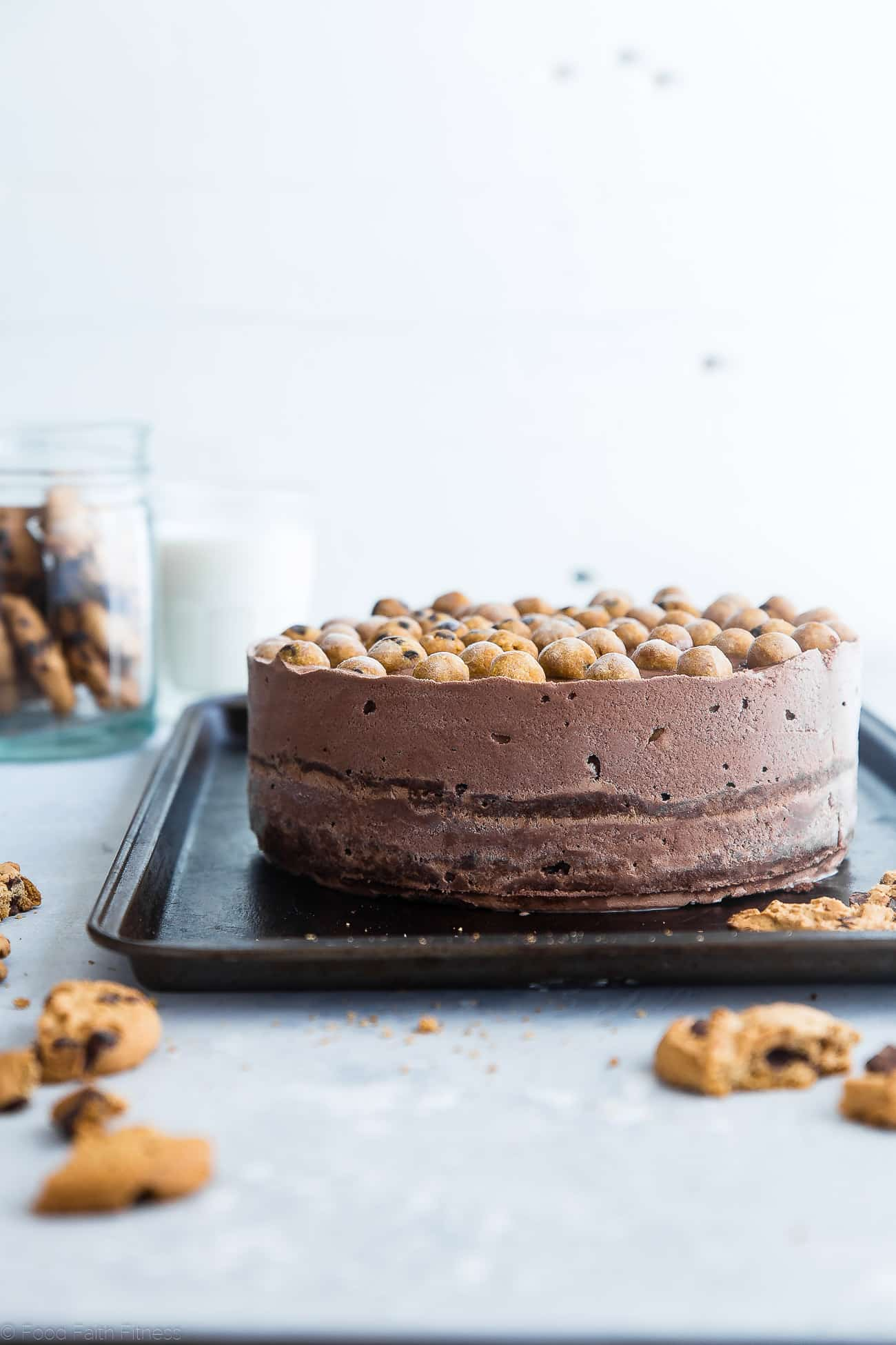 Healthy Cookie Dough Ice Cream Cake -This easy homemade ice cream cake uses healthy chocolate ice cream and bites of chickpea cookie dough for a grain and gluten free, lighter dessert that everyone will love! | Foodfaithfitness.com | @FoodFaithFit