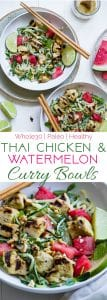 Collage image of green cashew curry bowls. Recipe on Foodfaithfitness.com