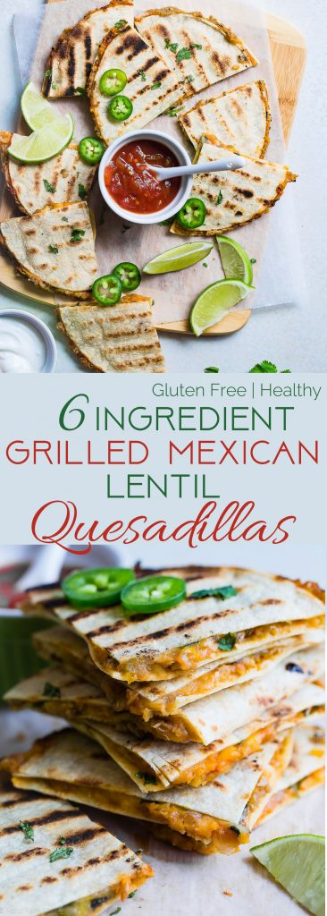 Collage image of Grilled Mexican Lentil Quesadillas. Recipe on Foodfaithfitness.com