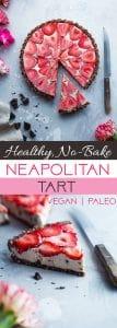 No-Bake Neapolitan Tart -This paleo friendly, no bake tart is an easy summer dessert that tastes like healthy ice cream! Gluten, grain, dairy free and vegan friendly!   Foodfaithfitness.com   @FoodFaithFit