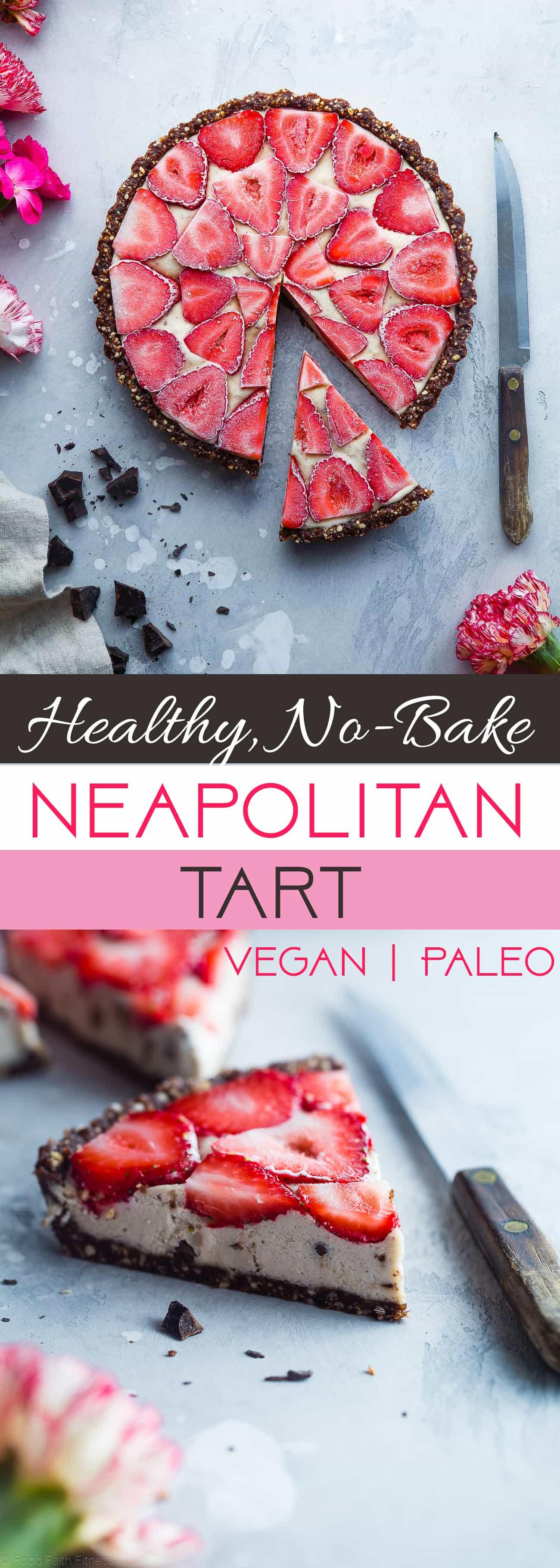 No-Bake Neapolitan Tart -This paleo friendly, no bake tart is an easy summer dessert that tastes like healthy ice cream! Gluten, grain, dairy free and vegan friendly! | Foodfaithfitness.com | @FoodFaithFit