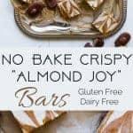 Collage image on no bake almond joy bars. Recipe on Foodfaithfitness.com