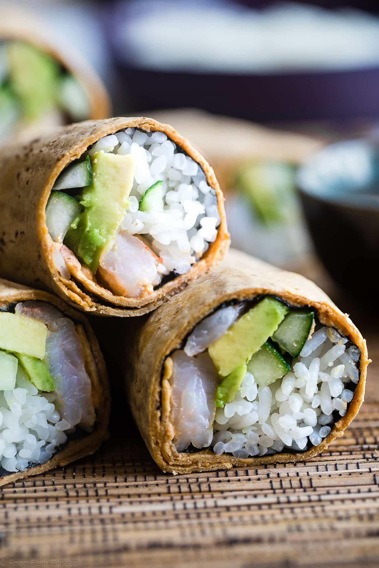 Gluten Free Spicy Shrimp Sushi Burritos -A quick and easy, healthy lunch recipe that is dairy free and has all the sushi taste, without all the work! Perfect for meal prep too! | Foodfaithfitness.com | @FoodFaithFit