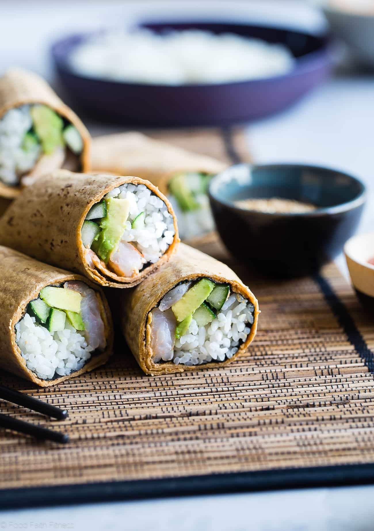 Gluten Free Spicy Shrimp Sushi Burritos - A quick and easy, healthy lunch recipe that is dairy free and has all the sushi taste, without all the work! Perfect for meal prep too! | Foodfaithfitness.com | @FoodFaithFit