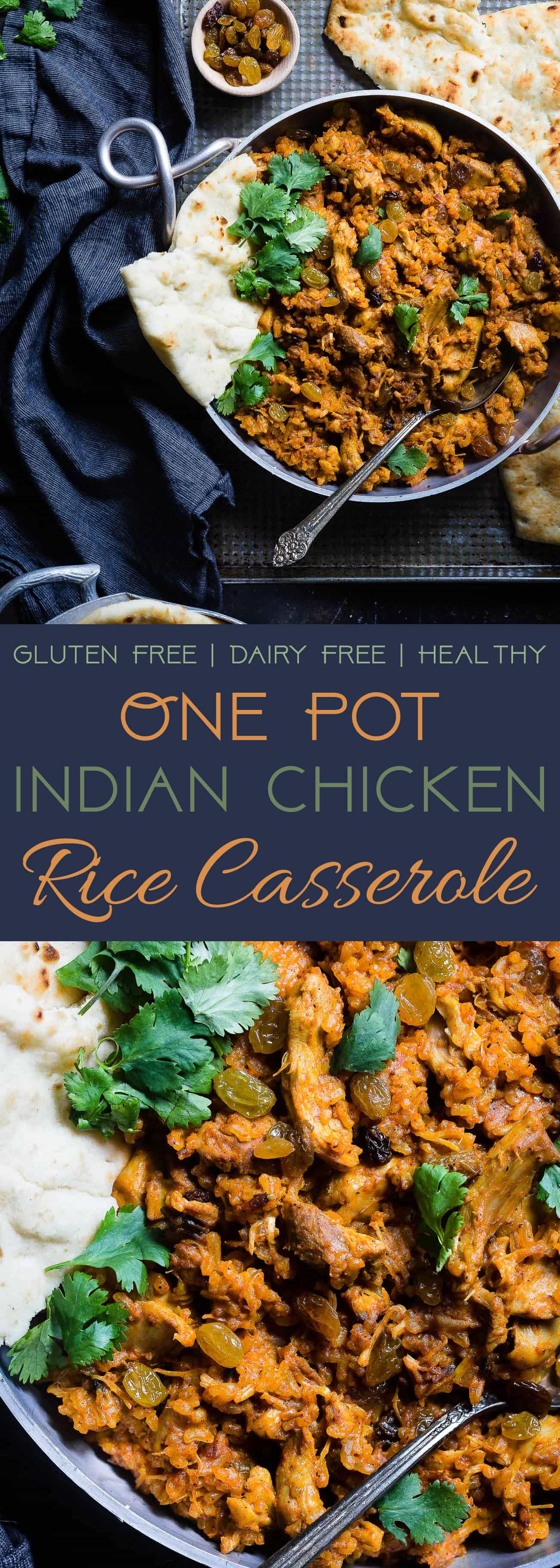 Indian Chicken Rice Casserole - This dairy and gluten free casserole is made in one pot and has delicious Indian curry flavors! It's a quick and easy, healthy weeknight meal that freezes well and makes great leftovers! | Foodfaithfitness.com | @FoodFaithFit