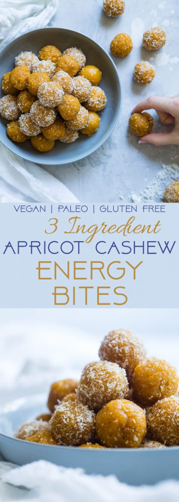 3 Ingredient No Bake Apricot Cashew Energy Bites -These kid-friendly, vegan energy bites are a quick and easy, healthy snack for busy days! Gluten free and paleo friendly too!   Foodfaithfitness.com   @FoodFaithFit