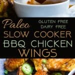 Slow Cooker BBQ Chicken Wings - Let the slow cooker do the work for you with these easy paleo-friendly chicken wings! A healthy, gluten, grain and dairy free, crowd pleasing appetizer for game day! | Foodfaithfitness.com | @FoodFaithFit