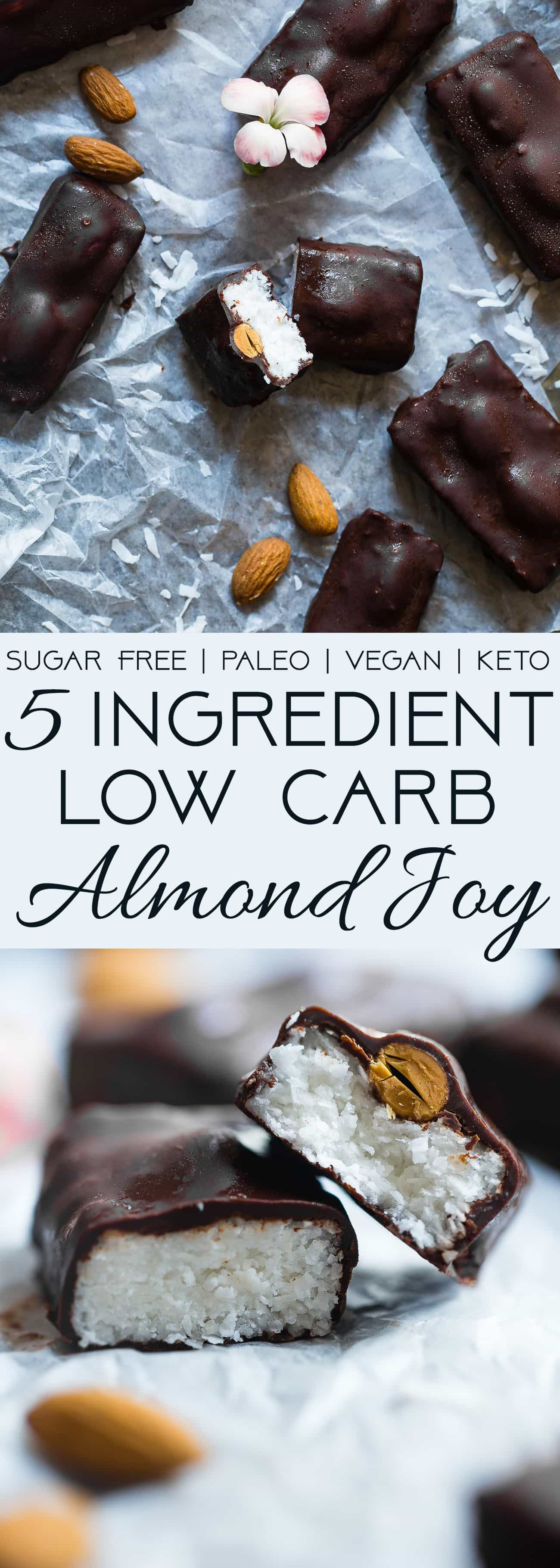 Low Carb Almond Joy Bars - These homemade paleo almond joy bars are a healthy, low carb remake of the classic candy bar that you will never believe are sugar, dairy, grain and gluten free! | Foodfaithfitness.com | @FoodFaithFit |Healthy almond joy. almond joy recipe. vegan almond joy. almond joy bites. gluten free desserts. vegan dessert recipes. keto desserts. sugar free desserts. keto almond joy. fat bombs.