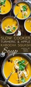Slow Cooker Apple, Turmeric and Kabocha Squash Soup -  Let the slow cooker do the work for you with this anti-inflammatory paleo, vegan and whole30 compliant kabocha squash soup! It's an easy, healthy and gluten free fall meal! | Foodfaithfitness.com | @FoodFaithFit