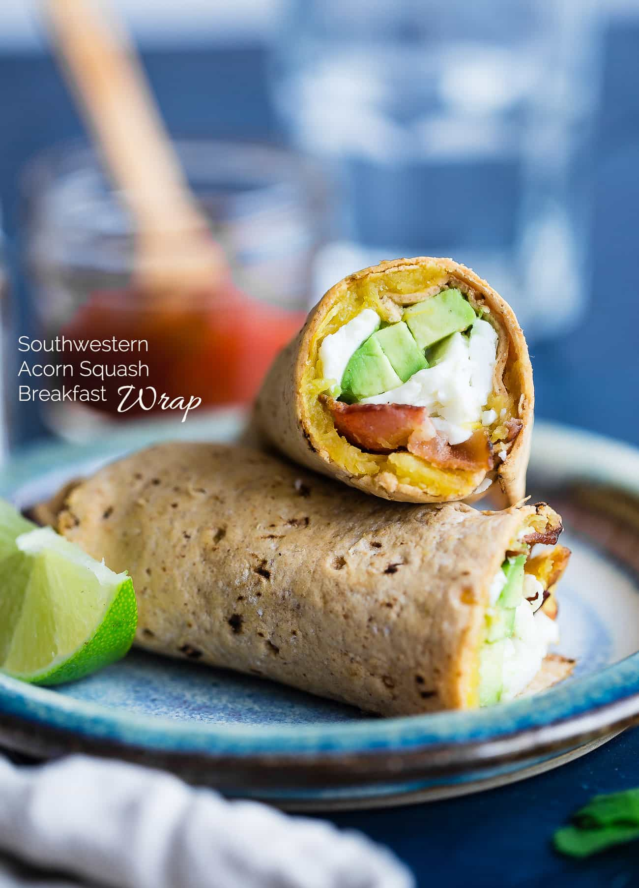 Southwestern Breakfast Burrito - A delicious, gluten free and protein packed breakfast for busy mornings that uses taco seasoned, roasted acorn squash to give it a sweet and spicy flavor!   Foodfaithfitness.com   @FoodFaithFit