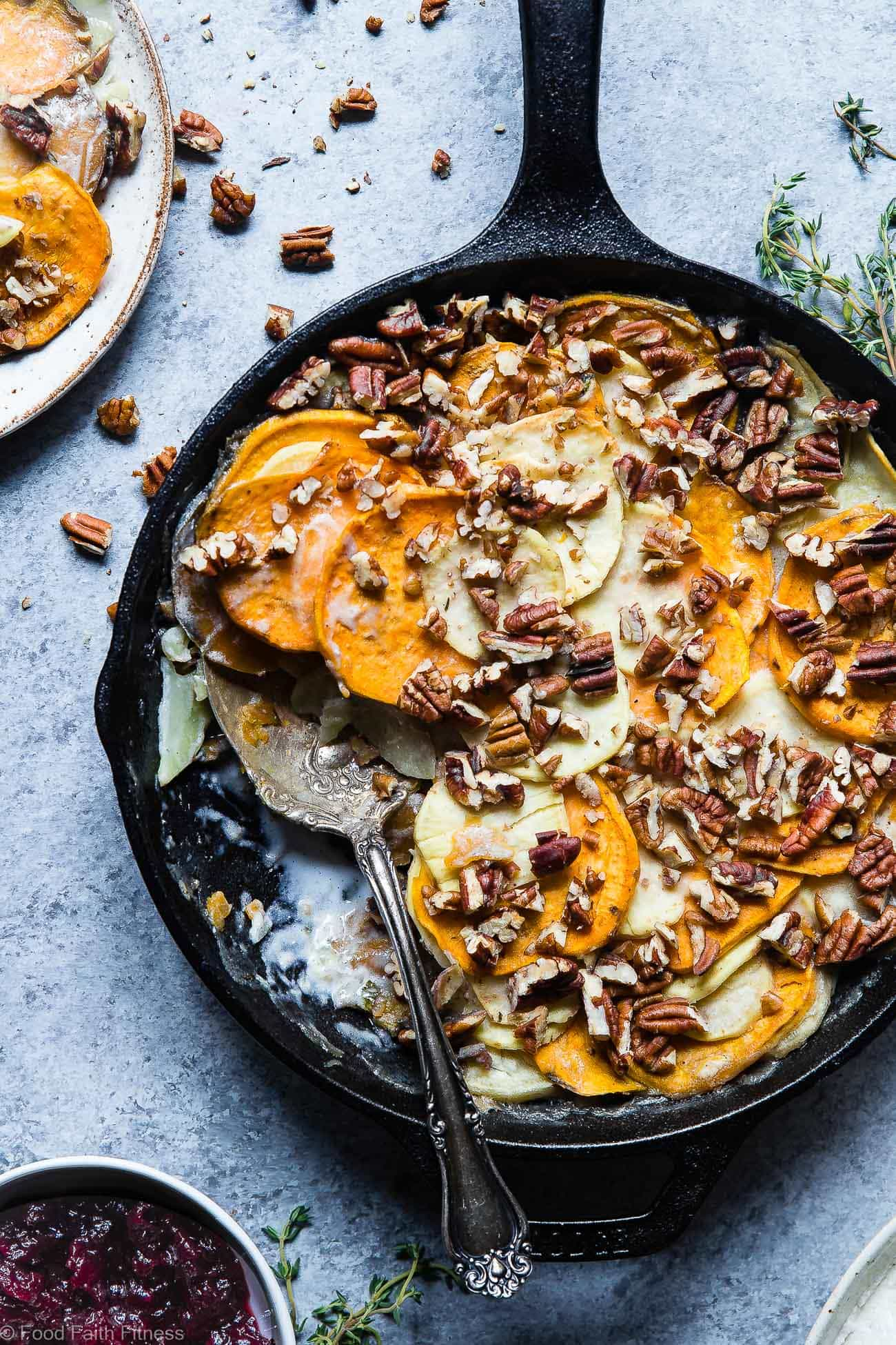 Healthy Scalloped Sweet Potatoes Casserole - Ever wondered how to make scalloped sweet potatoes? These are so rich and creamy, you will never believe it's gluten free and paleo/vegan/whole30 compliant! Perfect for a healthy Thanksgiving! | Foodfaithfitness.com | @FoodFaithFit