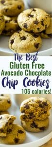 The BEST Healthy Chocolate Chip Avocado Cookie - These gluten free chocolate chip cookies are SO big, soft and chewy that you would never believe they are butter/oil free and use avocado to make them low fat and only 105 calories!   #Foodfaithfitness   #Glutenfree #Healthy #Avocado #ChocolateChipCookies #OatFlour