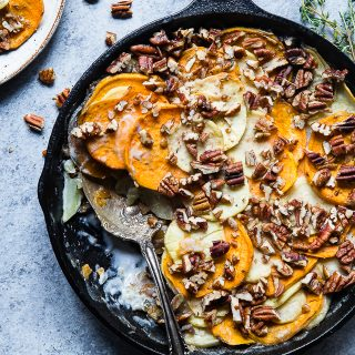 Healthy Scalloped Sweet Potatoes Casserole - So rich and creamy, you will never believe it's gluten free and paleo/vegan/whole30 compliant! Perfect for a healthy Thanksgiving! | Foodfaithfitness.com | @FoodFaithFit
